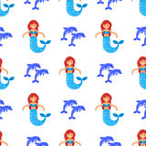Vector flat style seamless pattern with mermaid Stock Photography