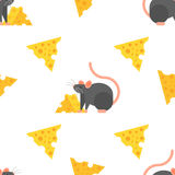 Vector flat style seamless pattern with mouse and cheese. Stock Photo