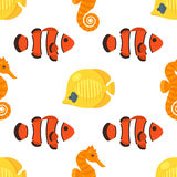 Vector flat style seamless pattern with red and yellow fish. Icon for web. Isolated on white background. Children`s wallpaper Royalty Free Stock Photos