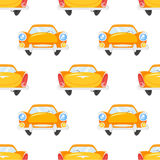 Vector flat style seamless pattern with retro yellow car. Stock Photo