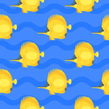 Vector flat style seamless pattern with yellow fish. Icon for web.  on blue background. Children`s wallpaper Stock Images