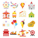 Vector flat style set of amusement park fun icons. Isolated on white background. Icon for web Stock Image