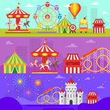 Vector flat style set of amusement park for kids banners Royalty Free Stock Photography