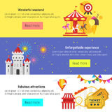 Vector flat style set of amusement park for kids banners Royalty Free Stock Photo