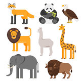 Vector flat style set of animals. Stock Images