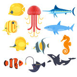 Vector flat style set of exotic fish. Icon for web. Isolated on white background Stock Photo