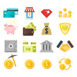 Vector flat style set of finance icons. Isolated on white background Stock Photography