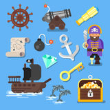 Vector flat style set of  icon: pirate ship, treasure chest, map. Royalty Free Stock Photo