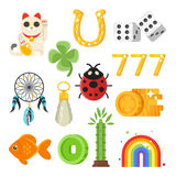Vector flat style set of luck objects. Royalty Free Stock Photo