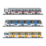 Vector flat style set of metro trains Stock Photography