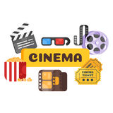 Vector flat style set of old cinema icon for online movies. Royalty Free Stock Images