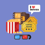 Vector flat style set of old cinema icon for online movies. Stock Image
