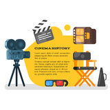 Vector flat style set of old cinema icon for online movies. Isolated on white background Stock Photography