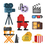 Vector flat style set of old cinema icon for online movies. Isolated on white background. Camera, clapboard, directors chair, tickets, pop corn Stock Photos