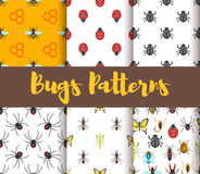Vector flat style set of patterns with bug Royalty Free Stock Photo