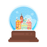 Vector flat style snow globe house. Vector flat style illustration of snow globe house new year and xmas glass ball. Icon for web. Isolated on white background Stock Image