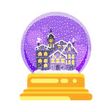 Vector flat style snow globe house. Vector flat style illustration of snow globe house new year and xmas glass ball. Icon for web. Isolated on white background Royalty Free Stock Photography