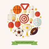 Vector Flat Style Sport Recreation and Competition Objects Conce. Pt. Flat Design Vector Illustration. Collection of Sports and Activities Colorful Objects. Set Stock Photos