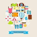 Vector Flat Style Summer Vacation and Travel Objects Concept Royalty Free Stock Images