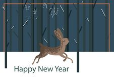 Flat hare character postcard stock illustration