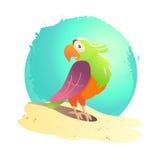 Vector flat summer cartoon bird illustration. Royalty Free Stock Photo
