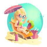 Vector flat summer cartoon illustration. Stock Photo