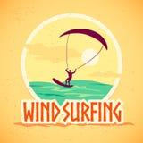 Vector flat summer holiday illustration. Vintage, retro style. Surfer silhouette. Human figure. Extreme sport, summer resting. Wind surfing badge, label design Stock Image