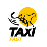 Vector flat taxi logo isolated on white background. Royalty Free Stock Photos