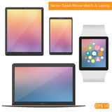 Vector flat technic laptop phone tablet Stock Photography