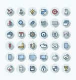 Vector flat color thin line icons set with digital development outline symbols. Vector flat thin line icons set and graphic design elements. Digital development Royalty Free Stock Images