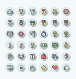 Vector flat color thin line icons set with award, prize, achievement symbols. Vector flat thin line icons set, graphic design elements. Illustration with award Royalty Free Stock Photography