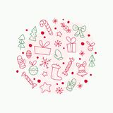 Vector flat traditional Christmas decor icons - fir tree, decoration ball, snowflake, gift box, bell, star, sweet - isolated on wh. Ite background. Packaging Royalty Free Stock Photography