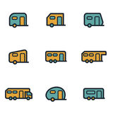 Vector flat trailer icons set vector illustration