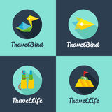 Vector flat travel agency logo templates set Royalty Free Stock Photos