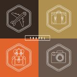 Vector flat travel badges in outline style Royalty Free Stock Photography