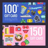 Vector flat travel discount or gift card. Vector flat travel elements discount or gift card voucher templates illustration Royalty Free Stock Photos
