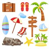 Vector flat travelling beach vacation symbols icon. Vector flat travelling bag, beach vacation icon set. Summer holiday slippers surf starfish sand island with Royalty Free Stock Images
