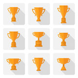Vector flat trophy cup icons set Royalty Free Stock Photo