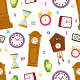 Vector flat clock types icon seamless pattern. Vector flat types of clocks seamless pattern. Digital wall mounted clock, hourglass, sandglass, table clock, alarm Royalty Free Stock Image