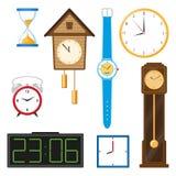 Vector flat clock types icon set isolated. Vector flat types of clocks set. Digital wall mounted clock, hourglass, sandglass, table clock, alarm clock, vintage Stock Image
