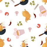 Vector flat udon noodles wok seamless pattern. Vector flat asian wok seamless pattern. Udon noodles in paper box, large royal shrimp, chili pepper and mushroom Stock Photo