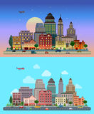 Vector flat urban city lifestyle, highway, buildings, transport. Flat cartoon city set day and sunset night. Road highway avenue transport street traffic before Stock Image