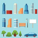 Vector flat city urban objects set Royalty Free Stock Photography