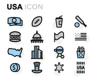 Vector flat usa icons set Royalty Free Stock Images