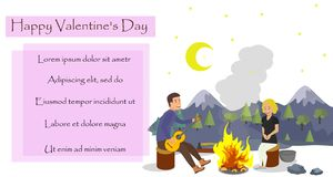 Vector Flat Valentines Day Husband Wife on Trip. royalty free illustration