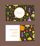 Vector flat vegetables organic farm, vegan, healthy food business card template royalty free illustration