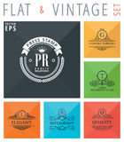 Vector flat and vintage elements icons Royalty Free Stock Image
