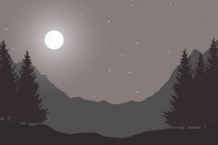 Vector flat vintage illustration of a panoramic night mountain l Stock Image