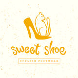 Vector flat vintage shoe store, shop logo design isolated. Royalty Free Stock Photography