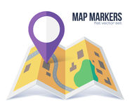 Vector flat violet marker symbol on yellow city map Royalty Free Stock Photo